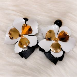 Black and white statement fashion flower earrings